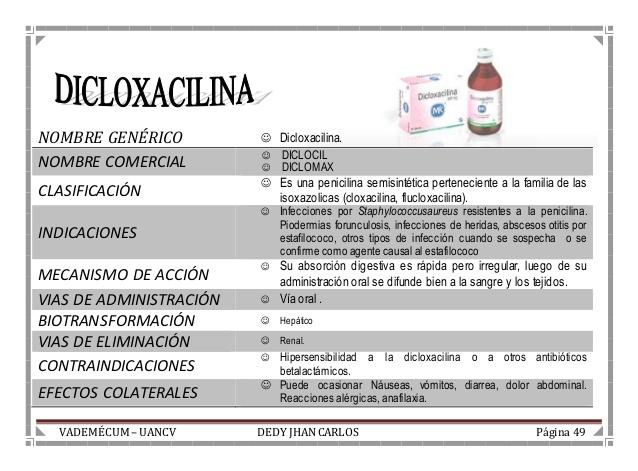 Dicloxacilina sódica 500 mg en Cápsula- Enfermedades